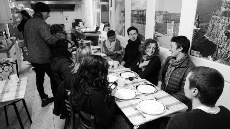dining at the hostel